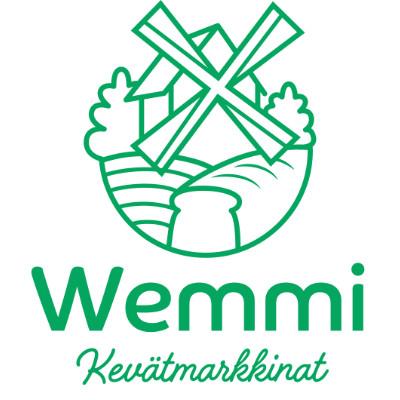 Wemmi Kevätmarkkinoiden logo. Kuvassa on piirretty tuulimylly, pelto ja leipä.