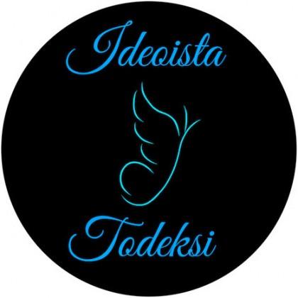 """Musta ympyrä, jonka sisällä on tyylitelty enkeli ja teksti: """"Ideoista todeksi""""."""