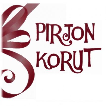 Piirretty punainen lahjanauha ja vieressä koukeroinen teksti: Pirjon Korut.